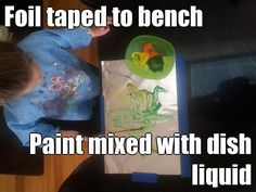 Foil taped to benchtop and the Paint is mixed with dish liquid  to help it stick to the foil.  We then pressed some paper and made a fab print. Perfect for wrapping paper. masadamum.blogspot.com Cool Kids, Wrapping, Tape, Action, Activities, Dishes, How To Make, Fun, Crafts