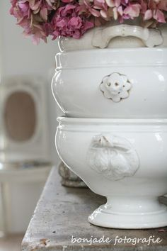 white ironstone  tureens