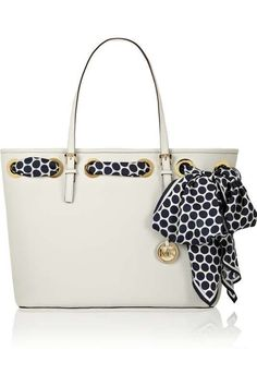 Michael Kors Jet Set White Medium Textured Leather Tote with Blue & White Scarf