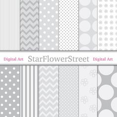 Gray Pattern Digital Paper - Soft Grays and White Polka Dot, Chevron, Flowers, for Scrapbook, Card Making