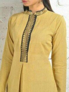 Buy Yellow Malkha Kurta With Black Zari Placket And Box Online Salwar Neck Designs, Churidar Designs, Kurta Neck Design, Neck Designs For Suits, Neckline Designs, Kurta Designs Women, Dress Neck Designs, Blouse Designs, Salwar Pattern