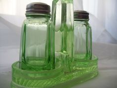 Vintage Green Depression Glass Salt and Pepper Shakers with Holder Caddy 3pc Set Tableware Glassware Collectible Green Glass