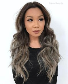 Long Ash Brown Ombre Hair