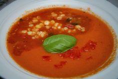 Street Food, Cuisine du Monde: Recette de gaspacho à la tomate et au maïs, une délicieuse soupe froide mexicaine - vegan...
