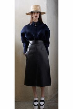 #Pre-Fall #Trend that should stay for #Fall - Midi-length Leather Skirts  celine Pre-Fall 13