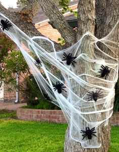 Creepy Halloween accents. If you have another tree in your yard, compliment the large spider web with a simpler version using medium size or various size spiders. Carry your web decor from your trees to your porch.   Spin your own web of fun, its creepy, not too scary and perfect for family neighborhood fun! Happy Halloween.