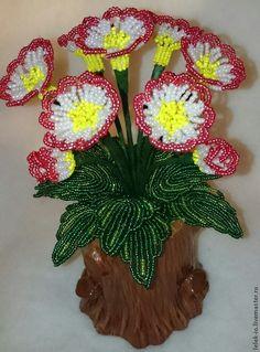 Купить Примула и бисера - белый, примула из бисера, подарок, цветы из бисера, цветы