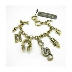 CYBER MONDAY WEEKLONG SPECIAL! Music Clef Note Microphone Headphones Summoning Brand Charm Bracelet,$10.00