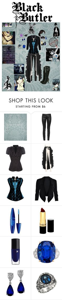 """""""Ciel Phantomhive"""" by lynda-dover ❤ liked on Polyvore featuring Cole & Son, Balenciaga, TALLY WEiJL, Demonia, Masquerade, Maybelline, Revlon, Lancôme and Ciel"""