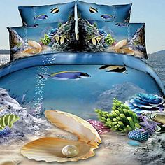 Tina Thicken The World Of The SeaThree Dimensional Floral Print 4 Pcs Set Beddings – EUR € 33.52