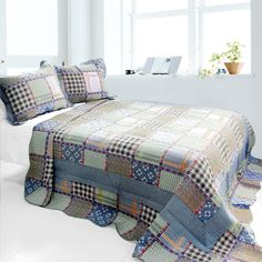 [Mixed Feelings] 3PC Cotton Vermicelli-Quilted Printed Quilt Set (Full/Queen Size)