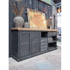 Enfilade d'atelier bois niches et tiroirs