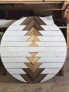 Round Wood Wall Art // Aztec Wall Art