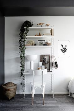 A beautiful and smart tiny one room flat in Finland. Home office. One Room Flat, String Shelf, Grey Wood Floors, Black Floorboards, Interior Styling, Interior Design, Sweet Home, Style Deco, Home And Deco
