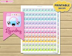 Laundry Printable Planner Stickers for Erin condren  by designby2