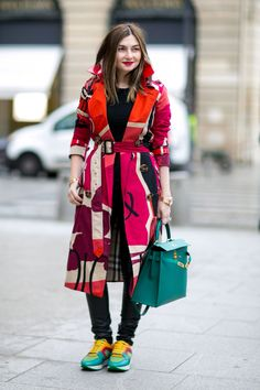 Colorful Burberry trench. Paris