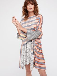 Horizon Sweater Mini | Sweater mini dress featuring a mixed stripe design with shimmering metallic threads throughout and an effortless belt at the waist for added shape.