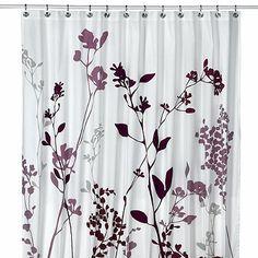 Purple, Deep Purple and Tan (not gray as it looks) - Reflections Purple Fabric Shower Curtain - BedBathandBeyond.com
