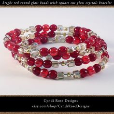 Your place to buy and sell all things handmade Crystal Bracelets, Bangles, Rose Design, Cut Glass, Winter Holidays, Seed Beads, Spiral, Beaded Jewelry, Glass Beads