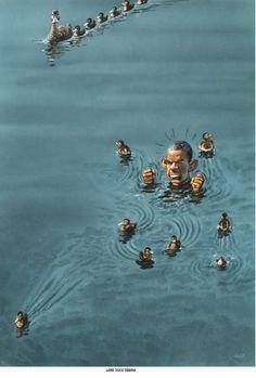 """Haderer-Karikatur vom 22. November 2014: """"Lame Duck Obama"""" Mehr Karikaturen auf: http://www.nachrichten.at/nachrichten/fotogalerien/cme14862,1184365 (Bild: Haderer)"""