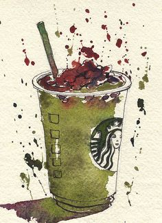 Green tea Frappuccino with raspberry syrup- watercolor
