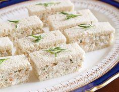Fresh tarragon adds flavor to these triple-stack Tarragon Shrimp Salad Finger Sandwiches.