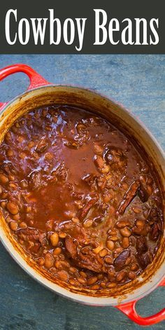 Beans ~ Slow-cooked cowboy beans with pinto beans, ham hocks, barbecue sauce, and coffee. Great accompaniment to a summer barbecue. Slow Cooker Recipes, Crockpot Recipes, Soup Recipes, Cooking Recipes, Beans Recipes, Dinner Crockpot, Slow Cooking, Chicken Recipes, Ovens