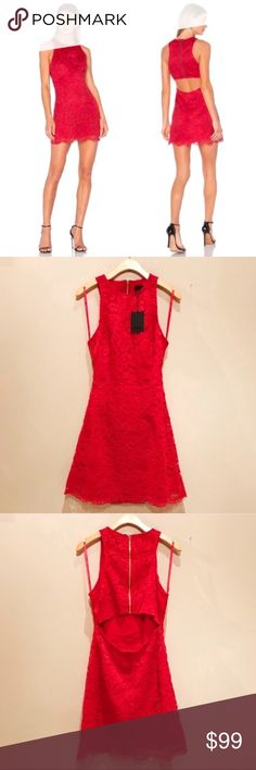 """NWT NBD Cutout Dress Red Brand new NBD red lace dress with cutout back detail- perfect for the holidays! Delicate lace cut into a sleek fit-and-flare silhouette, while a flirty cutout bares a bit of lower back. 33"""" length.   Open to offers! No trades NBD Dresses Mini"""