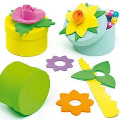 3D Flower Gift Box Kits - Pretty 3D flower gift boxes to make and fill with treats! Each easy to make kit contains a circular card box, pre-cut foam pieces and instructions. 3 assorted. Size 6cm diameter. Use with Foam Glue or Glue Dots. Great for wrapping small gifts and sweets. Fun Mother's Day craft activity.