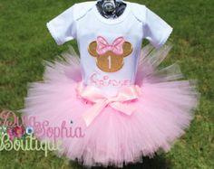 Oro y rosa Minnie Mouse cumpleaños cinta por DivaSophiaBoutique