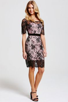 Outlet Paper Dolls Black and Pink Lace Overlay Dress  LACE ...