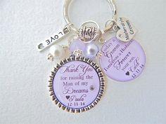 PERSONALIZED MOTHER of the Groom Mother of Bride Today a Groom PURPLE Wedding Keychain Mothers Day Thank you Gift Love of my Life Mil Gift
