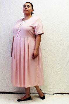 Plus Size - Vintage Pink Pleated Satin Detail Midi Dress by TheCurvyElle, $45.00