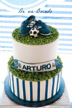 In the simpler side, on tier, top grass and cleats while the sides look like piano keys? Soccer Birthday Cakes, 10 Birthday Cake, 1st Boy Birthday, Fondant Cakes, Buttercream Cake, Cupcake Cakes, Soccer Ball Cake, Soccer Cakes, Football Cakes For Boys