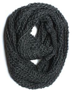 Thick Knitted Solid Infinity Loop Scarf, Dark Grey