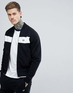 5deaafd61 Fred Perry zip through panel bomber sweat jacket in black