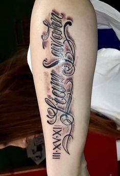Magnificent Roman Numerals With Lettering Tattoo On Arm Sleeve