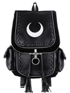 Occult styled backpack made of solid black denim (100% cotton) and faux black leather. The main flap is adorned with a white crescent moon embroidery and metal lock. Under the flap is a huge pocket. O