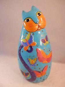 Laurel Burch CAT Figurine Whimsy Folk Art Statue Turquoise Butterflies