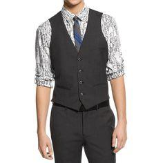 Bar III Mens Wool Slim Fit Suit Vest