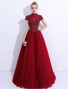 Wine Red Evening Dresses Elegant Ball Gown High Neck Cap Sleeve Formal Women Lace Up Prom Party Gown Handmade Beading Long Dress Red Wedding Dresses, Prom Dresses 2017, A Line Prom Dresses, Tulle Prom Dress, Cheap Prom Dresses, Prom Party Dresses, Elegant Ball Gowns, Formal Gowns, Dress Formal