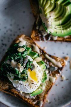 Avocado toast with kale + fried egg.