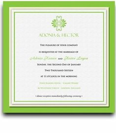 165 Square Wedding Invitations - Greek Twin Palm Set by WeddingPaperMasters.com. $432.30. Now you can have it all! We have created, at incredible prices & outstanding quality, more than 300 gorgeous collections consisting of over 6000 beautiful pieces that are perfectly coordinated together to capture your vision without compromise. No more mixing and matching or having to compromise your look. We can provide you with one piece or an entire collection in a one stop shopping...