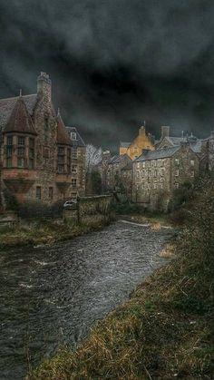 Stormy skies Dean Village in Edinburgh