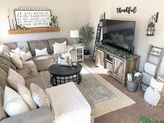 Home living room, living room with rug, small living room sectional, New Living Room, Small Living Rooms, Home And Living, Living Room Designs, Cozy Living, Small Living Room Sectional, Small Living Room Layout, Small Family Rooms, Grey Sectional