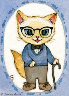 """Joe"" cute 1950s retro grandpa cat art by Carmen Medlin. 5x7"" print, $5.25"
