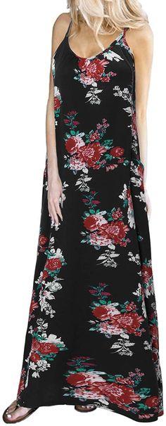 ZANZEA Damen O Neck Ärmellos Kleid Abendkleid Cocktail Floral Prom Strandkleid