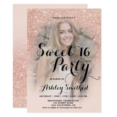 Modern faux rose gold glitter ombre photo Sweet 16 Invitation Rose Gold Ombre, Rose Gold Glitter, Glitter Confetti, Mint Green Background, Sweet Sixteen Invitations, Glitter Photo, Sweet Sixteen Parties, Princess Coloring, Sweet 16 Birthday
