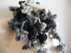 Crocheted scarf Black and white  women by Handpaintedworld on Etsy