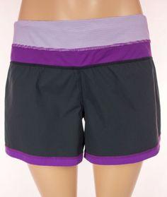 LULULEMON Run Shorts Size 12 L Large Purple Black Yoga #Lululemon #Shorts
